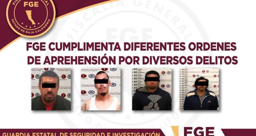 FGE cumplimenta ordenes de aprehensión por diversos delitos