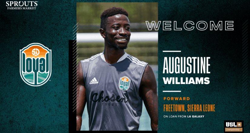 Augustine Williams se une a SD Loyal a Préstamo; Proviene del LA Galaxy de la Major League Soccer