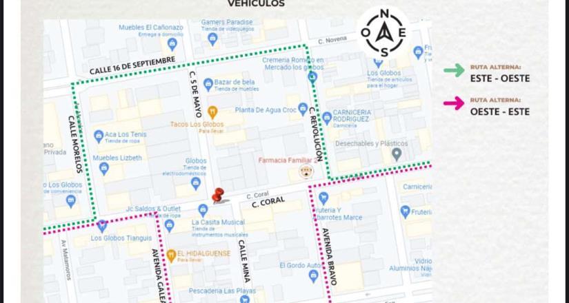 Habrá cierre de vialidades en el área de Los Globos; se rehabilitarán calles