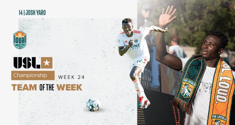 Josh Yaro nombrado en el Equipo de la Semana en la USL Championship Por Segunda Ocasión