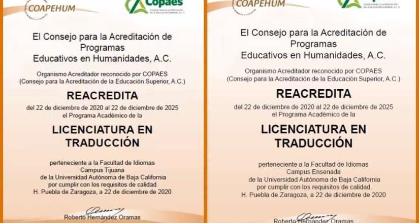 Reacreditan calidad de programas educativos de Idiomas